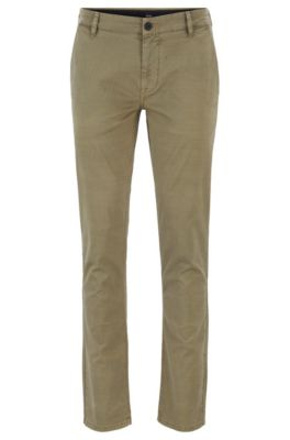 Pantalon Slim Fit en coton stretch surteint, Beige