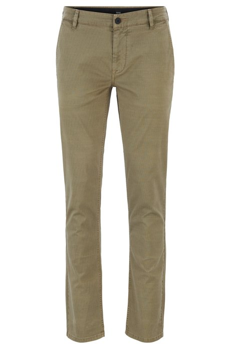 Slim-fit trousers in overdyed stretch cotton, Beige