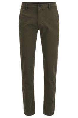 Pantalon Slim Fit en coton stretch surteint, Chaux