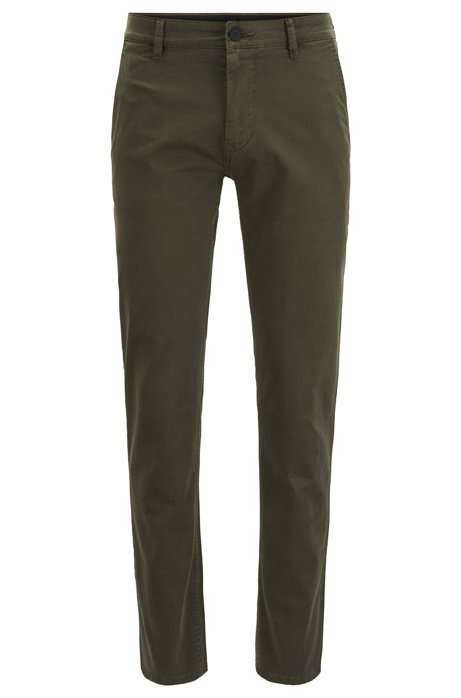 Pantalon Slim Fit en coton stretch surteint, Chaux