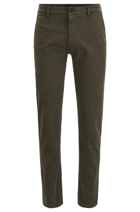 Slim-fit broek van geverfde stretchkatoen, Kalk
