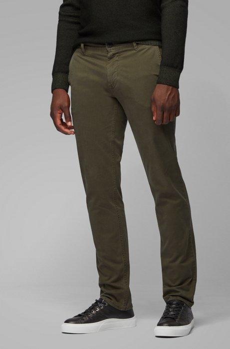 Slim-Fit Hose aus überfärbter Stretch-Baumwolle, Hellgrün