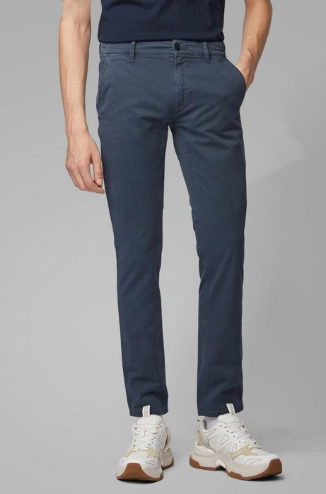 Slim-fit trousers in overdyed stretch cotton, Dark Blue