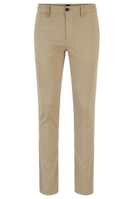 Pantalon Slim Fit en coton stretch satiné, Beige