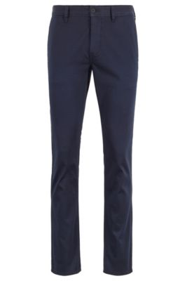 Pantalon Slim Fit en coton stretch satiné, Bleu foncé