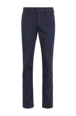 Pantalon Slim Fit en coton stretch satiné, Bleu foncé