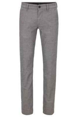Slim-Fit Hose aus Stretch-Gewebe mit Hahnentritt-Muster, Grau