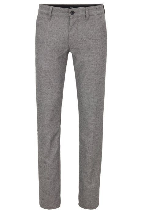 Pantalon Slim Fit en tissu stretch à motif pied-de-poule, Gris