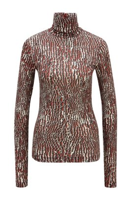 Patterned slim-fit top with back zip, Brown Patterned