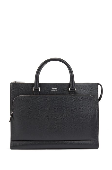 Porte-documents fin Signature Collection en cuir palmellato, Noir