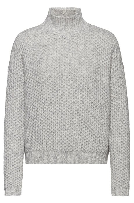 Relaxed-fit sweater with honeycomb-knit structure, Grey