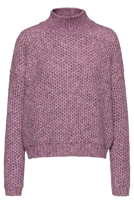 Relaxed-fit sweater with honeycomb-knit structure, Dark pink