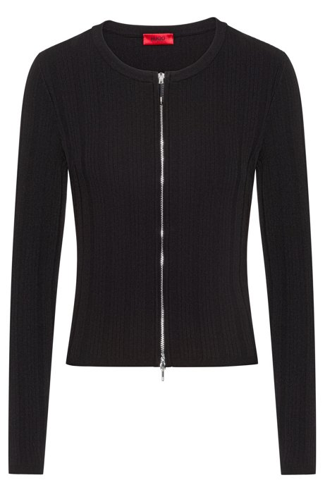 Slim-fit jacket with a two-way zip, Black