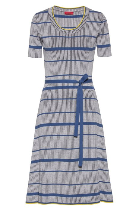Midi dress in super-stretch ribbing with horizontal stripe, Patterned