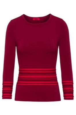 Jersey slim fit de punto con ribeteado en contraste, Rojo