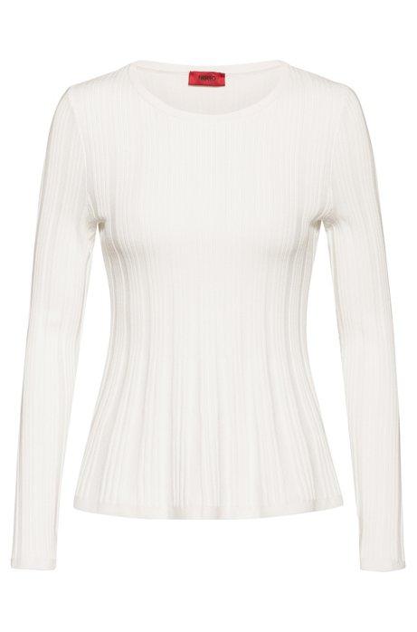 Gerippter Pullover aus Super-Stretch-Gewebe mit Schößchen, Natur