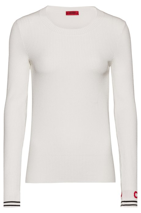 Slim-fit knitted sweater with logo cuff, White