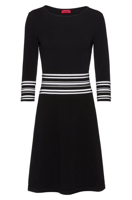 Super-stretch knitted dress with piping details, Black