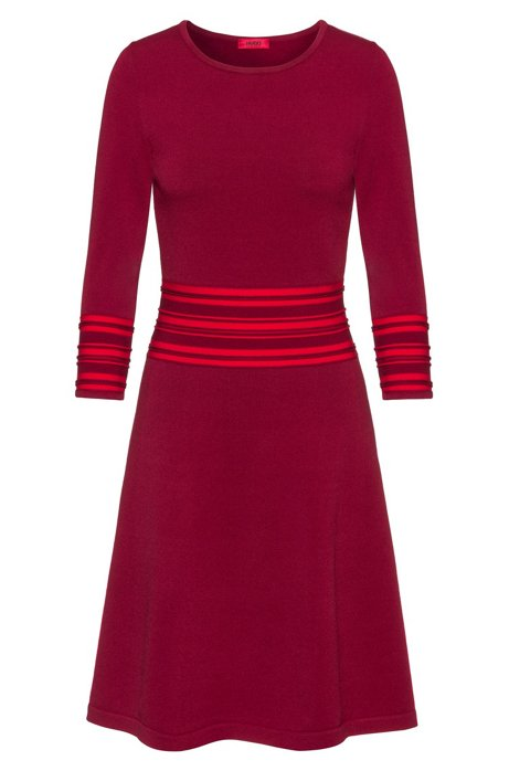 Super-stretch knitted dress with piping details, Red