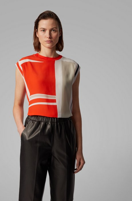 Relaxed-fit T-shirt with silk front, Patterned