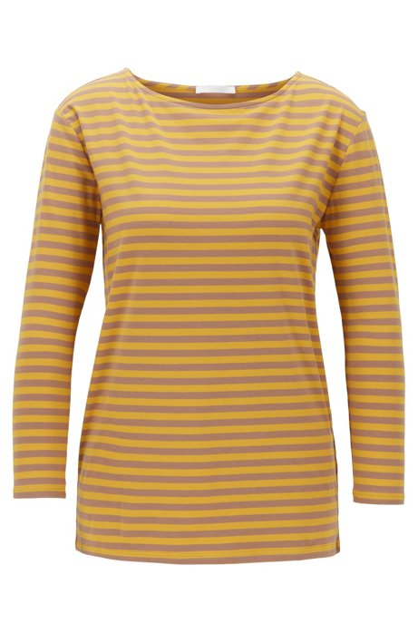 Regular-fit top with wide neckline in stretch jersey, Patterned