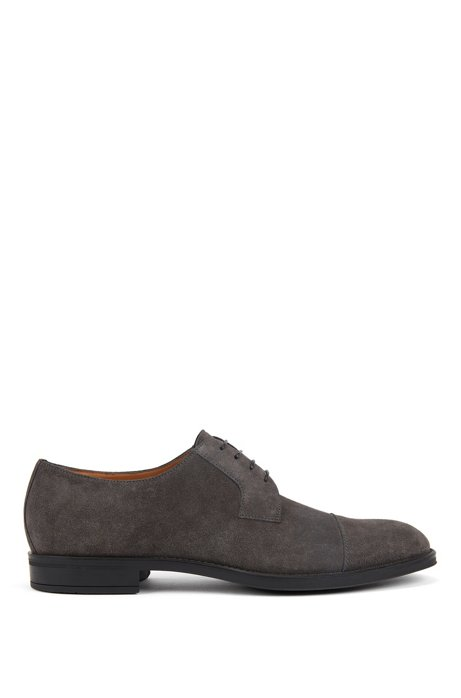 Italian-made Derby shoes in suede with monogrammed sole, Dark Grey