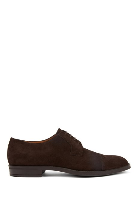 Italian-made Derby shoes in suede with monogrammed sole, Dark Brown