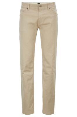 Regular-fit jeans van stretchdenim met gesatineerde touch, Lichtbeige