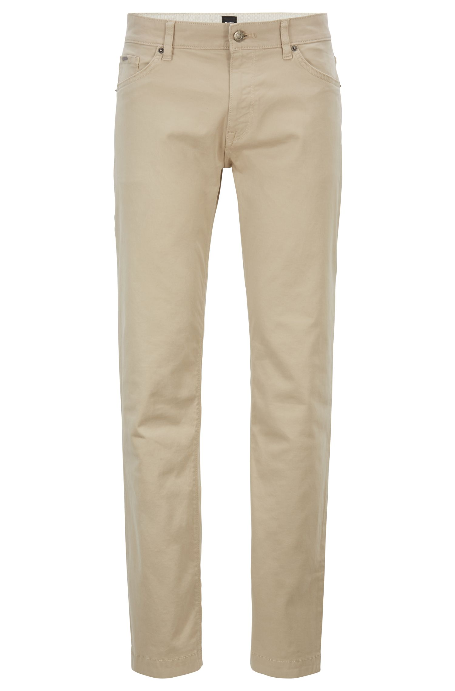 Regular-fit jeans van stretchdenim met gesatineerde touch, Lichtbeige