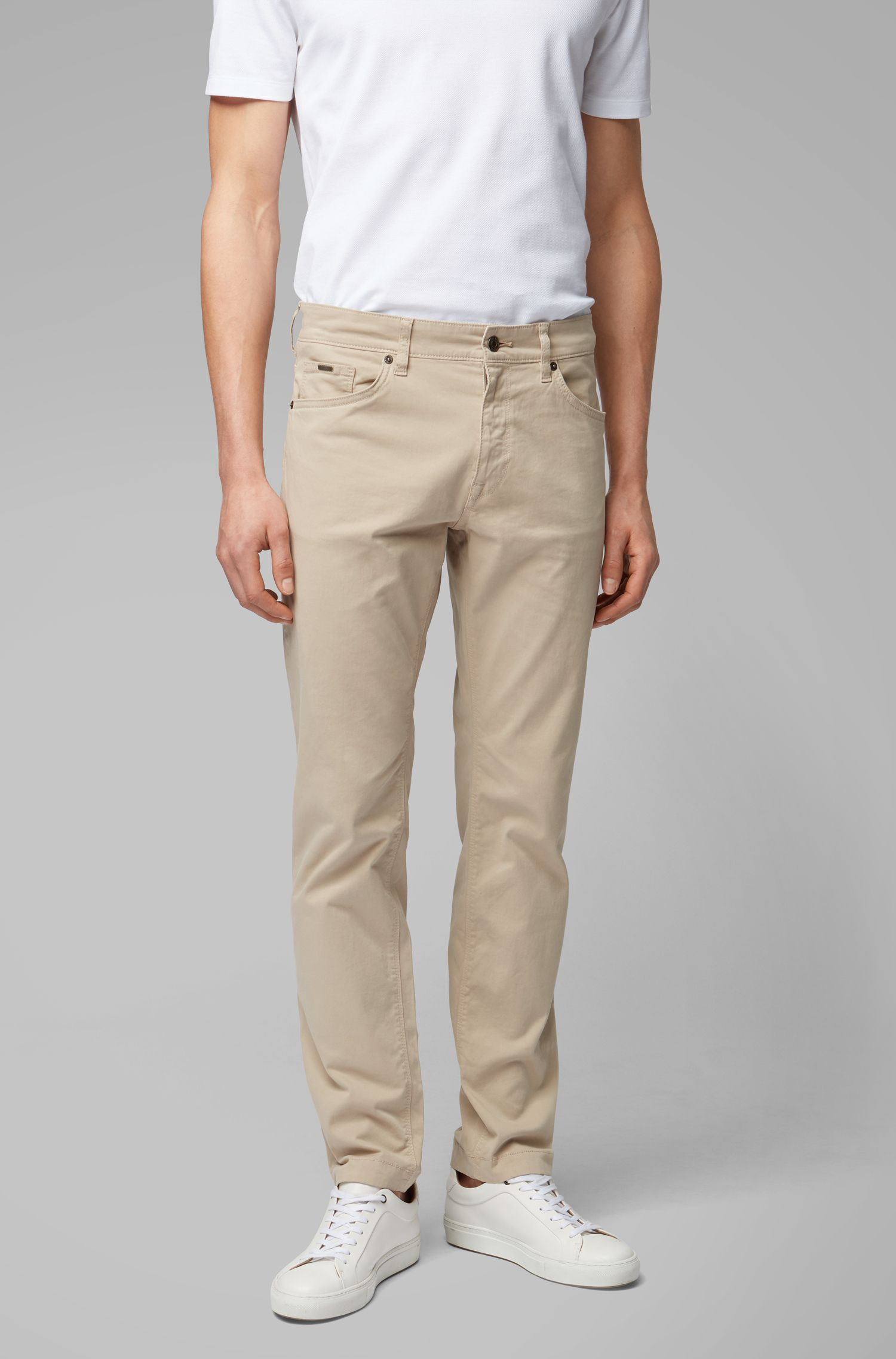 Regular-fit jeans in satin-touch stretch denim, Light Beige