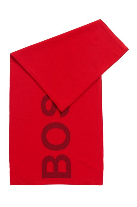 Logo-intarsia scarf in wool and cotton, Red