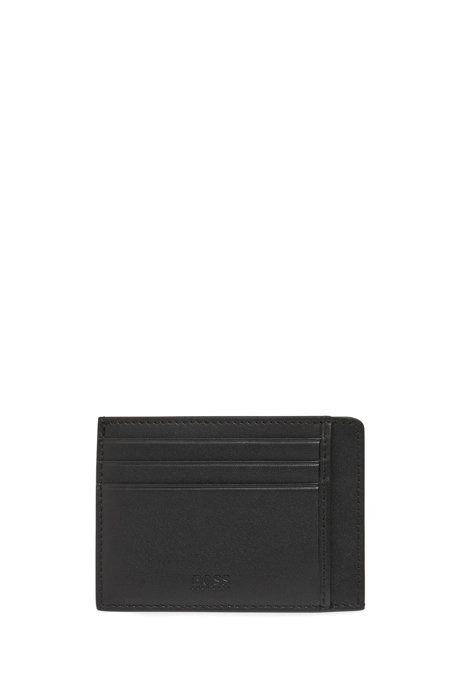 Logo-embossed card holder in nappa leather, Black