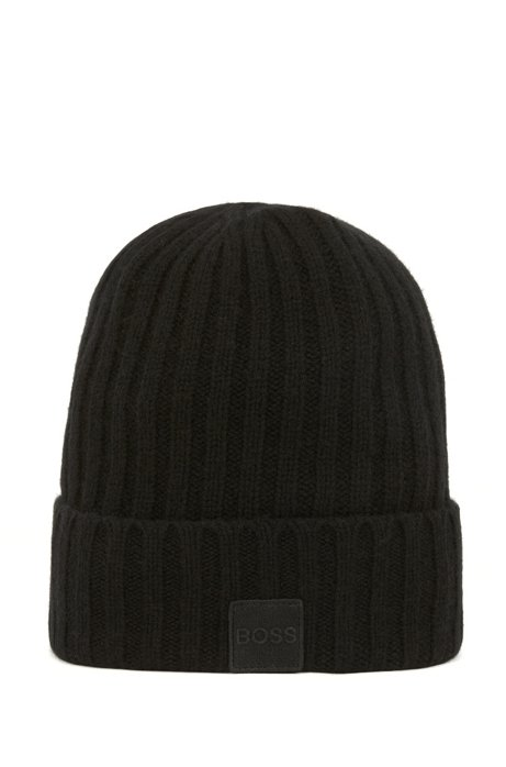 Knitted beanie hat with logo and turnback cuff, Black