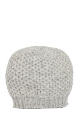 Mütze aus Alpaka-Mix mit Wolle und Wabenstruktur, Grau