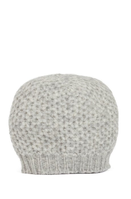 Alpaca-blend beanie hat with honeycomb structure, Grey