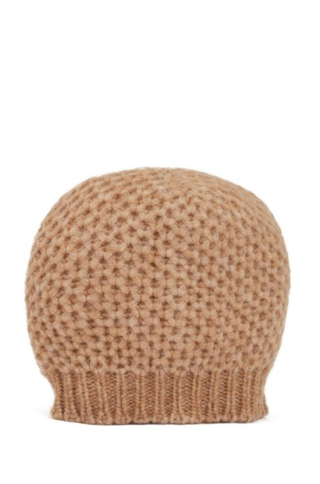 Alpaca-blend beanie hat with honeycomb structure, Light Brown
