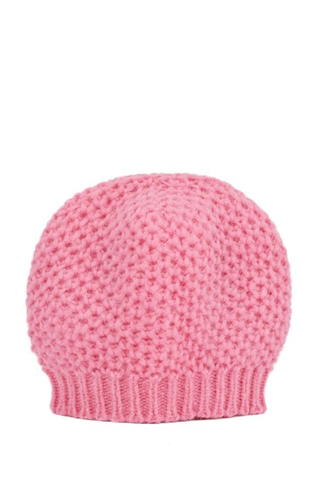 Alpaca-blend beanie hat with honeycomb structure, light pink