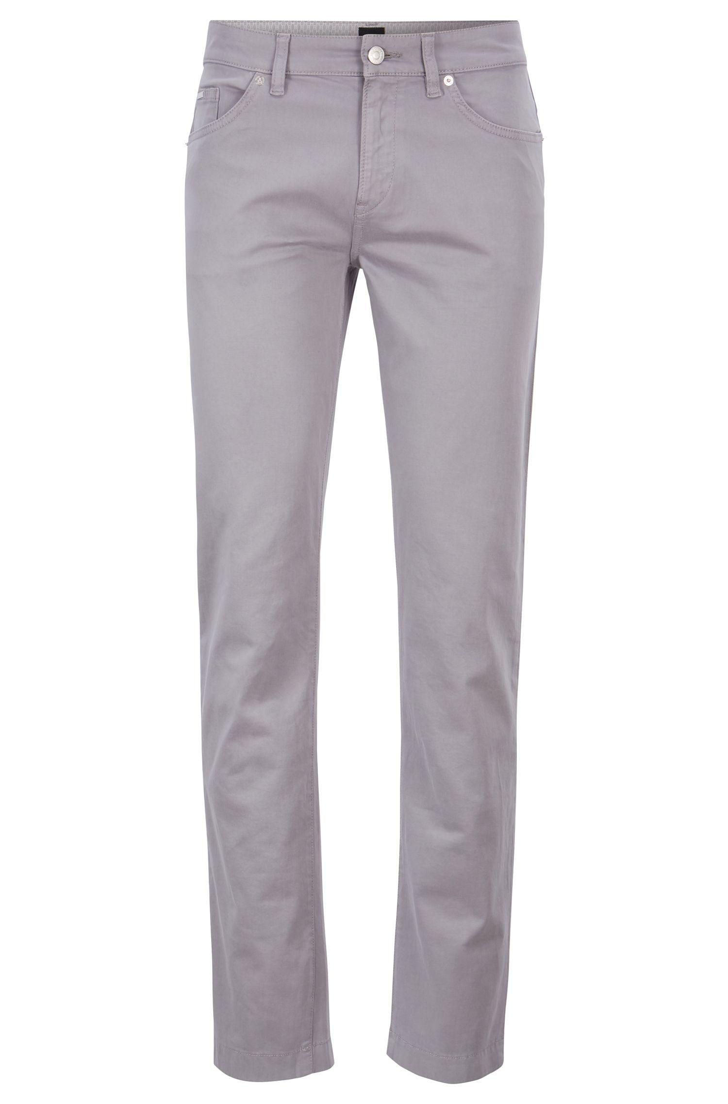 Slim-Fit Jeans aus Stretch-Denim mit Satin-Finish, Silber