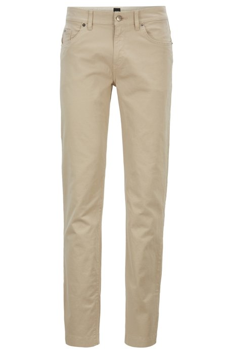 Slim-fit jeans in satin-touch stretch denim, Light Beige