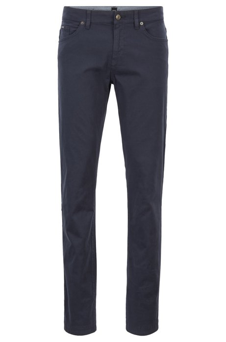 Jeans slim fit in denim elasticizzato effetto satin, Blu scuro