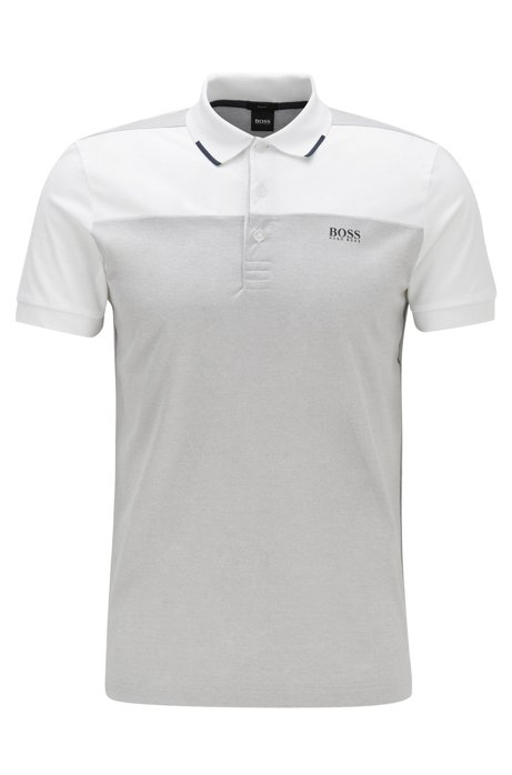 Slim-fit polo shirt in cotton with contrast panels, Light Grey