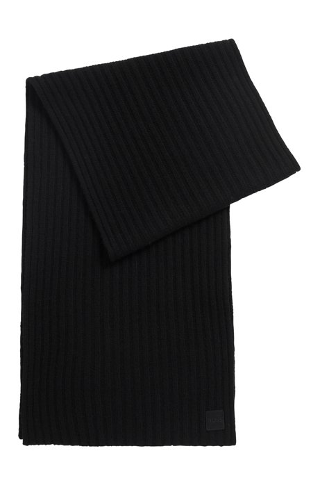 Ribbed scarf in yarn with wool and cashmere, Black