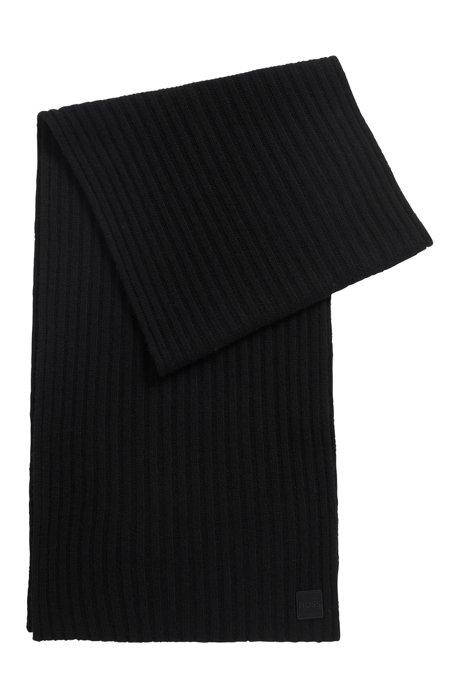 Geribde sjaal van garen met wol en kasjmier, Zwart