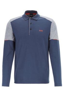 Longsleeve-Poloshirt aus Baumwolle mit Mouliné-Einsätzen, Blau
