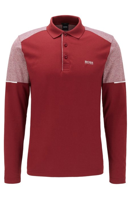 Slim-fit polo shirt with mouline inserts, Red