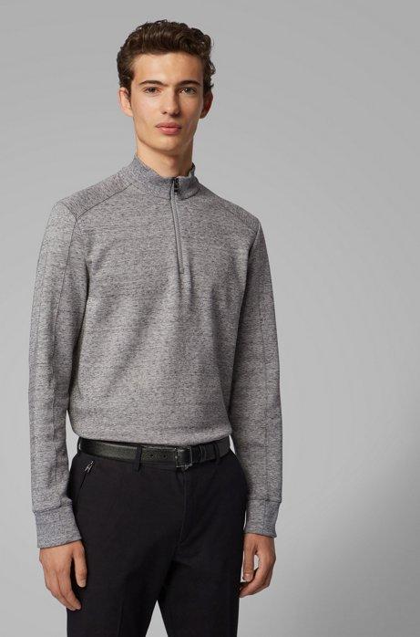 Sweatshirt van een mouliné katoenmix met ritskraag, Grijs