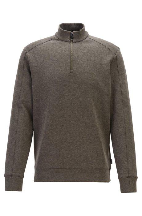 Sweatshirt aus Baumwoll-Mix mit Mouliné-Finish und Troyerkragen, Hellgrün