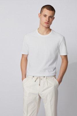 Crew-neck T-shirt in cotton piqué, White