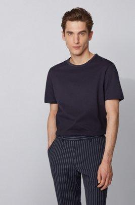 Crew-neck T-shirt in cotton piqué, ダークブルー