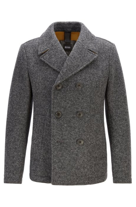Double-breasted felt pea coat with mesh lining, Dark GreyDark Grey
